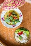 Thailändsk grön curryhöna med appetiseren arkivfoton