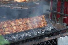 Thailändsk grillad höna, thailändsk mat, grillade fega Wichian Buri 3 Arkivfoto