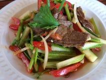 Thailändsk grillad nötköttsallad: Yam Nuea Fotografering för Bildbyråer