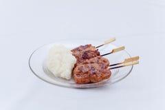 Thailändsk grillfest med rispinnen Arkivbild