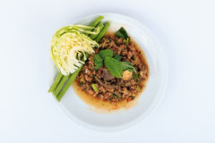 Thailändsk jordgrisköttsallad, kryddig finhackad griskött- och grisköttleversallad (Larb Mu) Royaltyfri Fotografi
