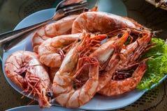 Thailändsk kokkonst: Ångad räka med salt Royaltyfria Bilder