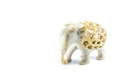 Thailändsk konst som snider elefanten Arkivbilder