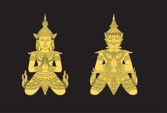 Thailändsk konstvinkel och fågel stock illustrationer