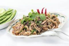 Thailändsk kryddig köttfärssallad med många grönsaker Arkivbilder