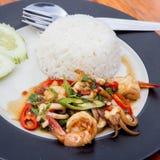Thailändsk kryddig mat med havsmat Arkivfoton
