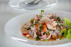 Thailändsk kryddig nudelsallad i den vita maträtten Arkivbild
