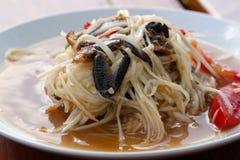 Thailändsk kryddig papayasallad som är varm och Arkivbild
