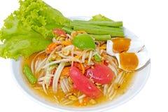 Thailändsk kryddig sallad, blandad grönsak, papaya Arkivfoton