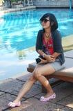 Thailändsk kvinnamodell för stående Arkivfoton