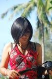 Thailändsk kvinnamodell för stående Royaltyfri Bild