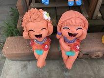 Thailändsk lera dolls2 Arkivbild