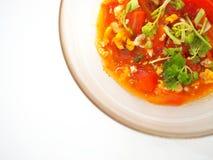 Thailändsk lokal uppståndelse stekte tomaten med ägget och persilja Fotografering för Bildbyråer