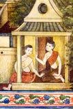 Thailändsk målning på väggen i tempel Fotografering för Bildbyråer