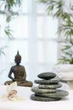 Thailändsk massage med massagestenar arkivbild