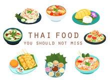 Thailändsk mat bör inte missa illustrationen Royaltyfria Bilder