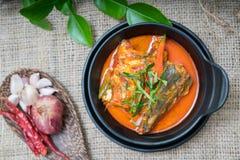 Thailändsk mat för Chuchi makrill Arkivfoto