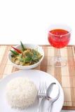 Thailändsk mat för grön curry. Arkivbild