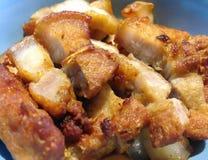Thailändsk mat för närbild, Moo Krob, stekt griskött Royaltyfria Bilder