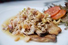 Thailändsk mat, fisksallad med kasjun Royaltyfri Fotografi