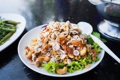 Thailändsk mat, foo för sötpotatisplommonduk Arkivfoton