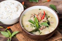 Thailändsk mat, grön curry med griskött och lagade mat ris Fotografering för Bildbyråer