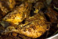 Thailändsk mat, grillade fega ben Arkivbild