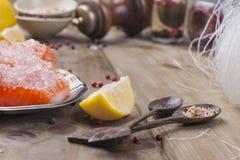 Thailändsk mat, ingredienser Risnudlar och lax, citron och kryddor dietary mat Stil wabisabi sund mat spelrum med lampa royaltyfria bilder