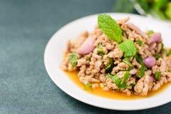 Thailändsk mat, kryddig finhackad grisköttsalladLarb mu Fotografering för Bildbyråer