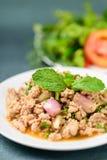 Thailändsk mat, kryddig finhackad grisköttsalladLarb mu Arkivbild