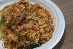 Thailändsk mat kryddiga Fried Rice With Shrimp Royaltyfri Foto