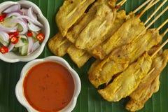 Thailändsk mat, Pork Satay Arkivbild