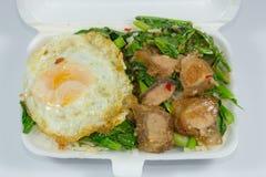Thailändsk mat - rör frasigt griskött för småfisk med grönkål (Kana Moo Grob) Arkivfoto