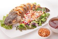 Thailändsk mat stekte djupt snakefish med växt- sallad och kasjuer Royaltyfria Bilder