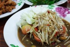 Thailändsk mat, thai Papayasallad eller SOMTUM Arkivbilder