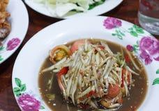 Thailändsk mat, thai Papayasallad eller SOMTUM Royaltyfri Fotografi