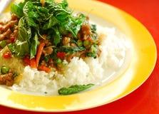 Thailändsk mat uppståndelse-stekt nötkött med basilikaleafen Arkivbilder