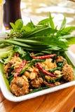 Thailändsk maträtt: Stekt kryddigt finhackat griskött med örten Fotografering för Bildbyråer