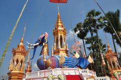 Thailändsk munkCrematory elefant Arkivbild