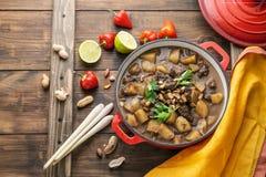 Thailändsk nötköttMassaman curry i en röd kruka, kopieringsutrymme arkivfoto
