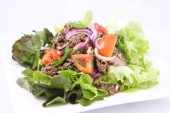 Thailändsk nötköttsallad, grillar nötkött med sallad. arkivfoto