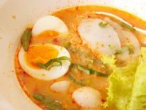 Thailändsk nudelsoppa med det grisköttbollen och ägget Fotografering för Bildbyråer