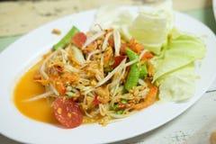 Thailändsk papayasallad, SomTum i Thailand Royaltyfri Foto