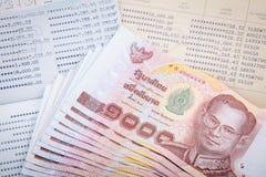 Thailändsk pengar- och för besparing två kontobankbok Arkivbilder