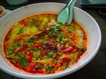 Thailändsk peppar för soppaTom Yum chili arkivfoton