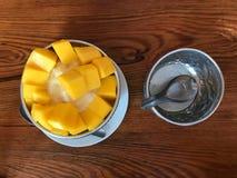 Thailändsk säsongsbetonad mangoefterrätt i bunken arkivbild