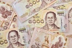 Thailändsk sedel av 1000 baht bakgrund Arkivbild