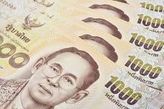 Thailändsk sedel av 1000 baht bakgrund Royaltyfri Fotografi