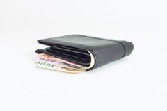 Thailändsk sedel i plånbok Arkivfoton