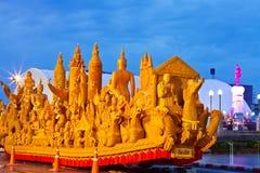 Thailändsk stearinljusfestival av buddha Arkivbild